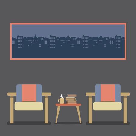 hot seat: Flat Design Empty Seats Vintage Interior Vector Illustration Illustration