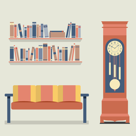 vintage living room: Living Room Interior Design Vector Illustration