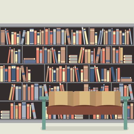muebles de oficina: Lectura asiento delante de un estante para libros