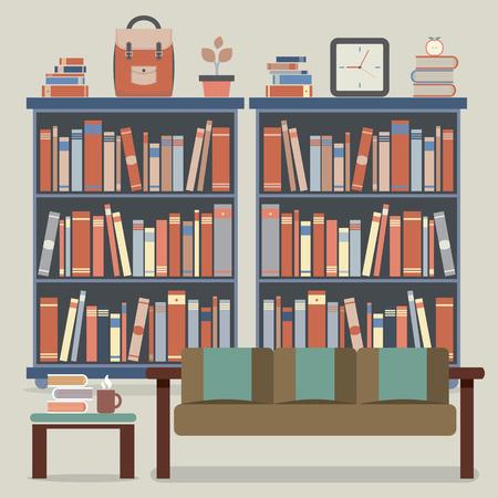 hot seat: Modern Design Interior Sofa and Bookshelf Illustration