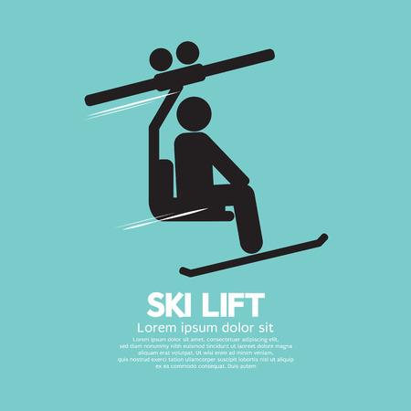 extreme sport: Ski Lift Graphic Symbol Vector Illustration