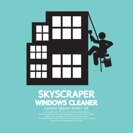 Skyscraper Windows Cleaner Vector Illustration Vector