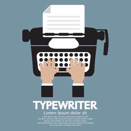 old typewriter: Flat Design of Typewriter The Classic Typing Machine