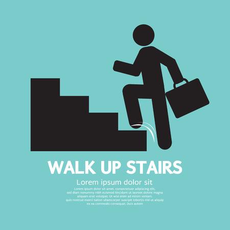 climbing stairs: Walk Up Ilustraci�n Escaleras S�mbolo Vector Vectores