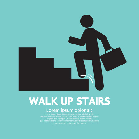 climbing up: Walk Up Stairs Symbol Vector Illustration