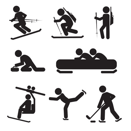 bobsled: Winter Sport Icon Set Vector Illustration Illustration