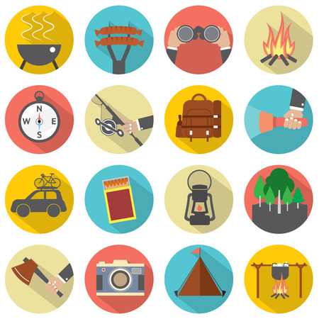 Modern Flat Design Camping And Outdoor Activity Icon Set Vector Illustration Vector