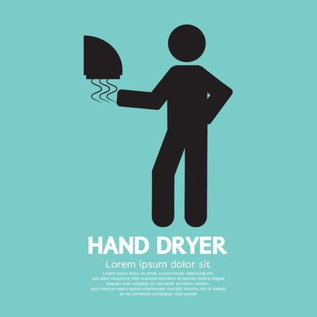 hand wash: Hand Dryer Machine In Public Toilet Vector Illustration Illustration