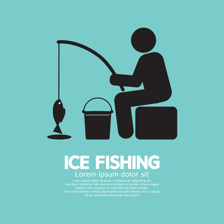 frozen fish: Ice Fishing Graphic Symbol Vector Illustration