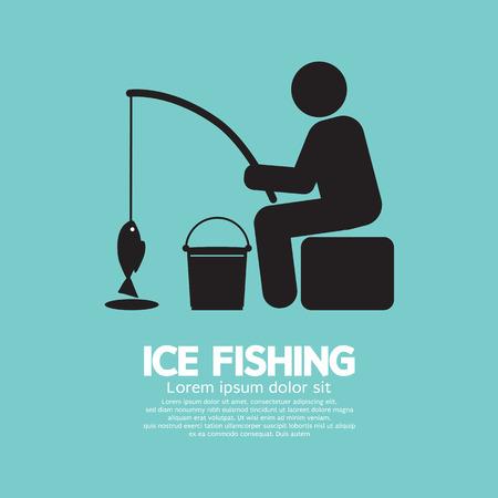 ice fishing: Pesca en el hielo Ilustraci�n S�mbolo Gr�fico vectorial