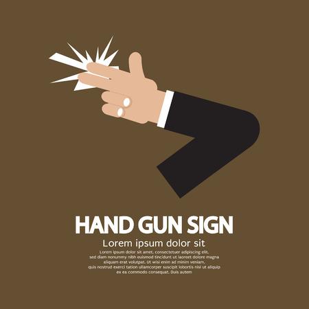 mano pistola: Hand Gun Sign illustrazione grafica vettoriale