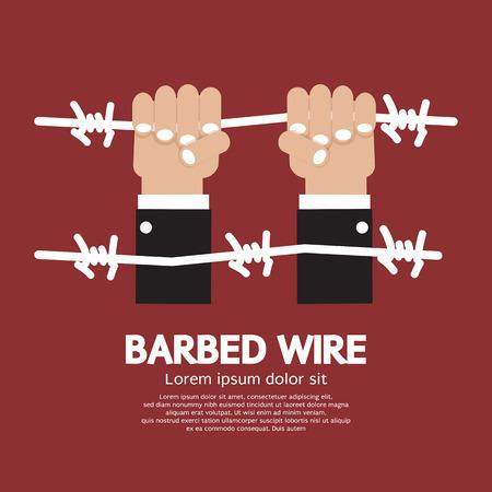 prisoner of war: Barbed Wire With Hand Vector Illustration