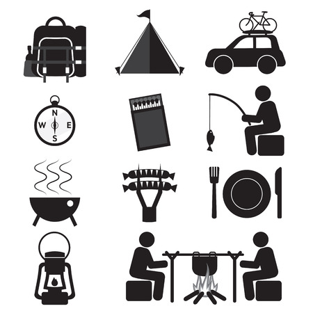 Camping And Outdoor Activity Icon Set Vector Illustration Vector