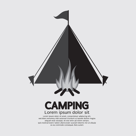 campsite: Tent And Campfire For Camping Vector Illustration