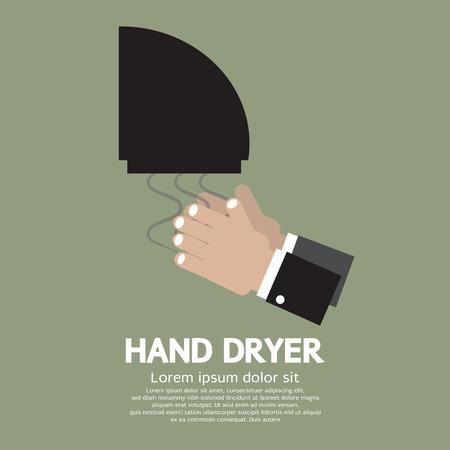 blow drying: Hand Dryer In Public Toilet Vector Illustration