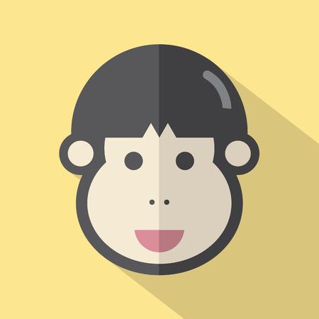 man face: Single Young Man Face Flat Design