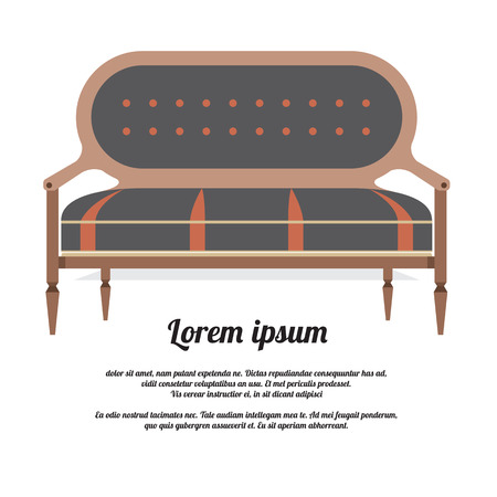 seater: Modern Sofa Vintage Style Vector Illustration Illustration