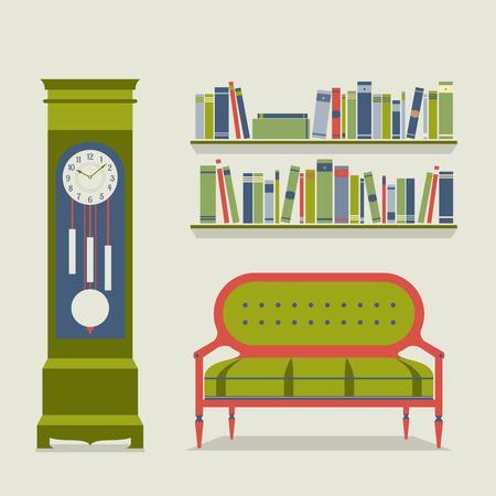 reloj de pendulo: Living Room Interior Design Ilustración vectorial Vectores
