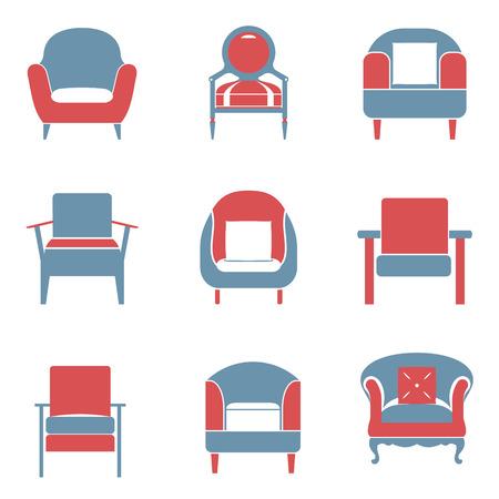 duotone: Sofas Icons Set Duotone Vector Illustration