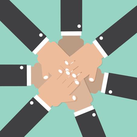 participation: Hands Join Together Teamwork Spirit Conceptual Vector Illustration