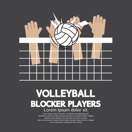 pelota de voley: Voleibol Bloque Jugadores Ilustración Vector Graphic Sports Vectores