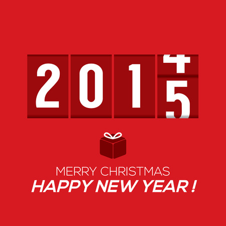 odometer: 2015 New Year Card Odometer Style Vector Illustration