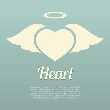 헤일로 기호 벡터 일러스트와 함께 단일 심장 날개
