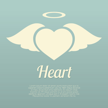 angel valentine: Single Heart Wings With Halo Symbol Vector Illustration