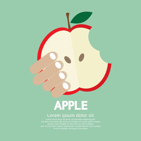 apple isolated: Bitten Apple In Hand Vector Illustration