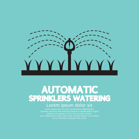 Automatic Sprinklers Watering Vector Illustration
