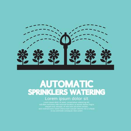 irrigate: Automatic Sprinklers Watering Vector Illustration
