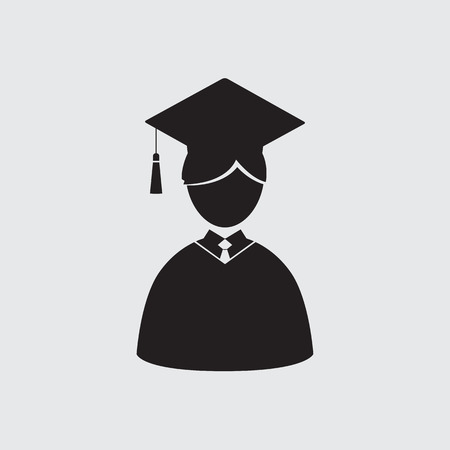 graduation gown: Students In Graduation Gown And Mortarboard Vector Illustration