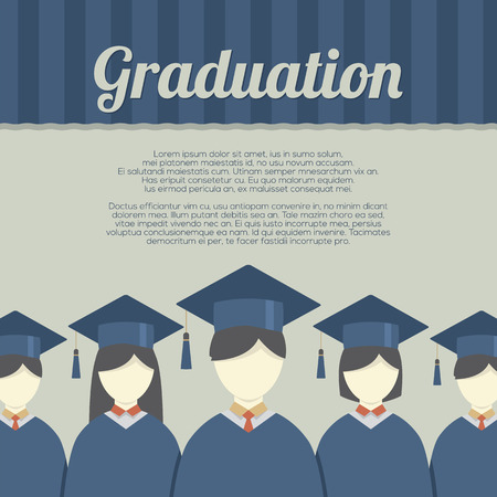fondo de graduacion: Grupo de estudiantes en la graduación bata y birrete Ilustración vectorial