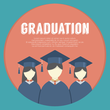 graduation gown: Group of Students In Graduation Gown And Mortarboard Vector Illustration Illustration