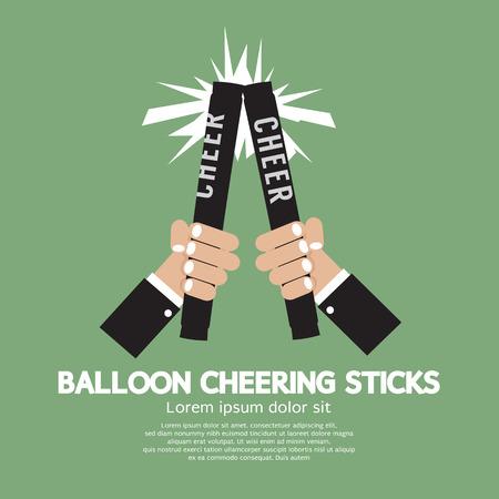 cheering: Balloon Cheering Sticks Vector Illustration