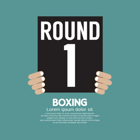 boxing ring: Hand Show Boxing Ring Board Vector Illustration