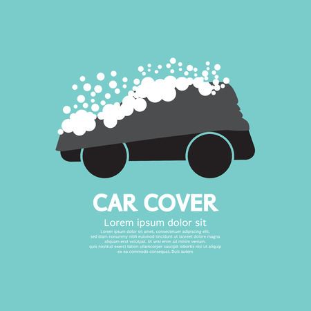 tarpaulin: Car Cover With Snow Graphic Vector Illustration Illustration