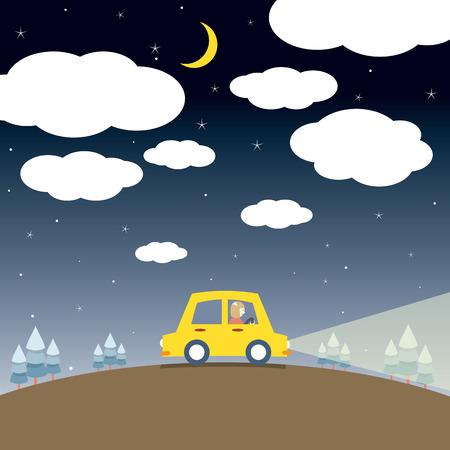 single woman: Single Woman Drive A Car In The Night