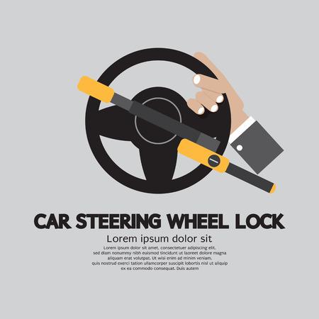 Car Steering Wheel Lock Vector Illustration Vector