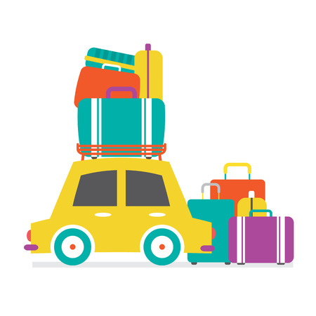 car side view: Car Side View With Heap Of Luggage Vector Illustration