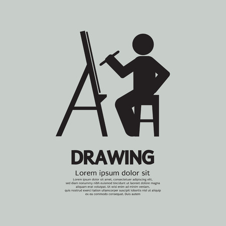 artist painting: Artist Drawing Picture Symbol Vector Illustration Illustration
