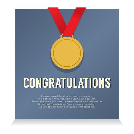 Golden Medal With Congratulations Card vector illustration Vector