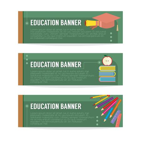 Set Of Education Banner Vector Illustration Vector