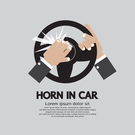 honk: Man Honking The Horn In a Car Vector Illustration