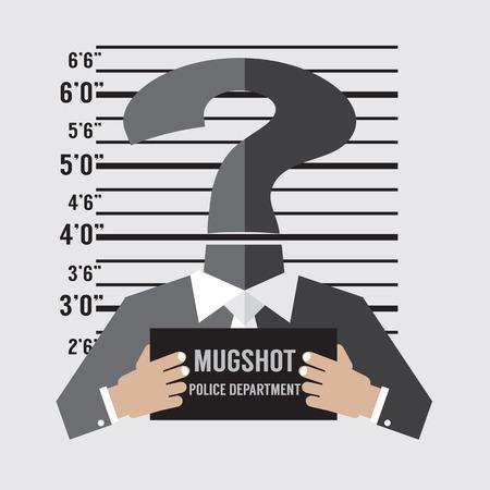mug shot: Mug Shot Of The Unknown Accused Vector Illustration
