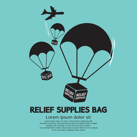 disaster relief: Relief Supplies Bag With Parachutes Vector Illustration Illustration