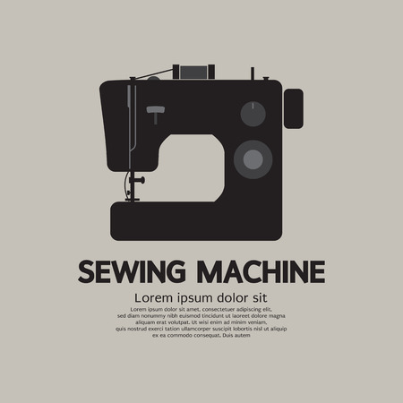 Single Sewing Machine Black Graphic Vector Illustration Vector