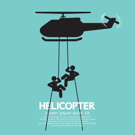 helicopter: Soldiers Jump From a Helicopter Vector Illustration