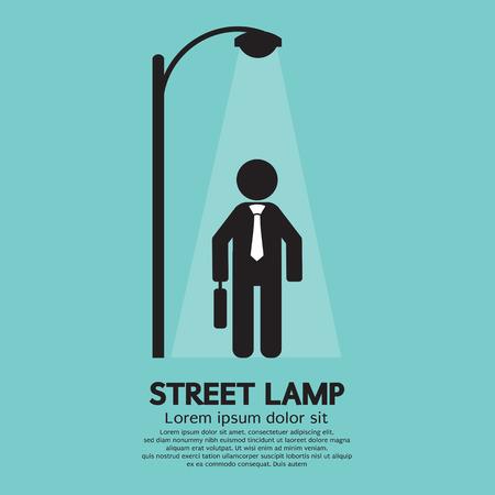 уличный фонарь: Бизнесмен Прогулки под уличный фонарь векторные иллюстрации
