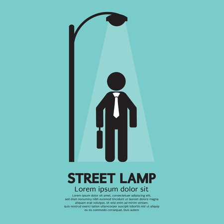 Businessman Walking Under Street Lamp Vector Illustration